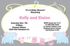 Clothesline Elephant Baby Shower Invitations - Get these invitations RIGHT NOW. Design yourself online, download and print IMMEDIATELY! Or choose my printing services. No software download is required. Free to try!