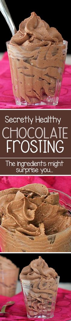 Healthy Chocolate Frosting, with just THREE ingredients, and no shortening or trans fats or butter