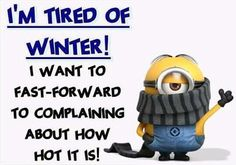 I'm Tired Of Winter! I want to fast-forward to complaining about how hot it is! - minion