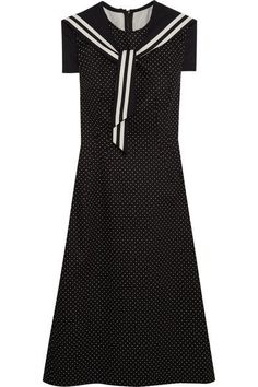 Dolce & Gabbana - Crystal-embellished Polka-dot Cotton-blend Twill Dress - Black - IT38