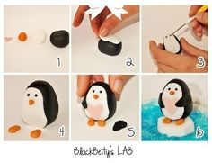 Tutorial for fondant penguin Clay Projects, Clay Crafts, Penguin Cakes, Fondant Animals, Fondant Decorations, Polymer Clay Animals, Fondant Tutorial, Diy Tutorial, Sugar Craft
