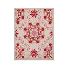 "Anneline Sophia ""Let's Dance Red"" Pink Floral KESS Naturals Canvas (Frame not Included)"