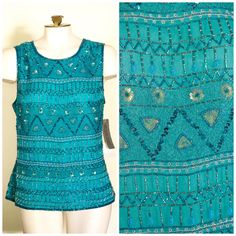 Teal beaded and sequined sleeveless top by Adrianna Pappel NEW WITH TAGS SIZE XL by TimeTravelFashions