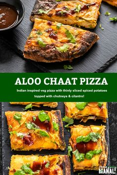 This Aloo Chaat Pizza is Indian fusion pizza with layers of thinly sliced spiced potatoes and drizzled with chutneys and cilantro! #vegetarian #pizza