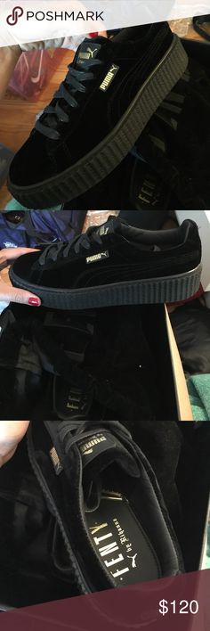 Size 10 Rihanna Fenty Creepers in Velvet Black Rihanna Velvet Black Fenty Creepers / Never Worn (Just to Try On) US Woman Size 10 / Men Sz 8 / UK Women 7.5 / Euro 41 Rihanna Shoes Sneakers