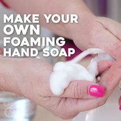 Homemade foaming hand soap that gets your hands clean, but is also kind to your . - Homemade foaming hand soap that gets your hands clean, but is also kind to your skin! Learn how to m - Homemade Hand Soap, Homemade Soap Recipes, Diy Foam Hand Soap, Homemade Disinfecting Wipes, Castile Soap Recipes, Hand Soaps, Foaming Hand Wash, Foaming Soap, Essential Oils Soap