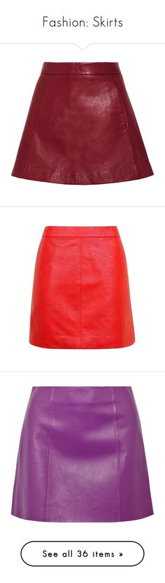 """Fashion: Skirts"" by katiasitems on Polyvore featuring skirts, mini skirts, bottoms, saias, red, leather skirt, leather mini skirt, red skirt, real leather skirt and red leather skirt"