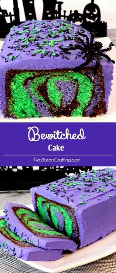 Our Bewitched Cake for Halloween is a beautiful and colorful Halloween Dessert that is easy to make and will make a big impact at your Halloween party. Your family or party guests will be amazed when you cut open this cake and display the amazing Halloween themed marbled cake! Follow us for more fun Halloween Food Ideas. #themedcakes #halloweenfoods