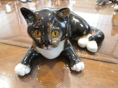 "RARE Mike Hinton Winstanley England 31 Brown Black Cat Figurine 3 1 2"" T 