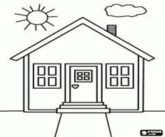 Belangrijkste gevel van een klein huis kleurplaat