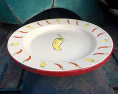 Vintage Enamelware Plate with Yellow Chile Peppers by Marble Canyon, Southwestern Ranch Home Decor