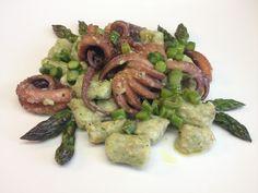 architettando in cucina: Gnocchetti di ricotta e basilico con asparagi e moscardini