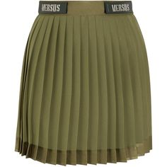 Versus Versace Embellished satin-trimmed pleated chiffon mini skirt ($380) ❤ liked on Polyvore featuring skirts, mini skirts, army green, pleated miniskirt, army green skirt, olive green skirt, chiffon skirt and green skirt