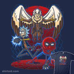 Spidermorty | Shirtoid #birdperson #comic #comics #film #jamierstone #movie #punksthetic #rickandmorty #ricksanchez #spiderman #tvshow