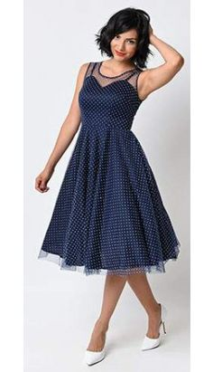 Unique Vintage 1950s Style Navy & White Dot High Society Swing Dress