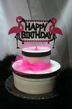 Your place to buy and sell all things handmade 13 Birthday Cake, 13th Birthday, 4th Birthday Parties, Birthday Cake Toppers, Birthday Bash, Pink Flamingo Party, Flamingo Birthday, Pink Flamingos, Mad Hatter Tea