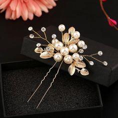 Luxury Ocean Blue Flowers White Rhinestones Hair Barrette Accessories HA133