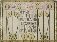 Jessie Newbery, linen appliqé cushion cover, c. 1900