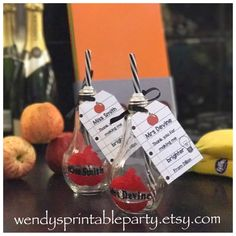 """Personalised """"Bright Idea"""" Light Bulb Glass / Cocktail Glass / Wine Glass / Hen Party Favor  - see listing for description of items by WendysPrintableParty on Etsy"""