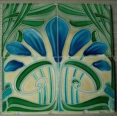 Germany - Villery & Boch - Antique Art Nouveau Majolica, 4 Tiles panel set, c. Motifs Art Nouveau, Azulejos Art Nouveau, Art Nouveau Pattern, Antique Tiles, Vintage Tile, Antique Art, Vintage Room, Art Nouveau Tiles, Art Nouveau Design
