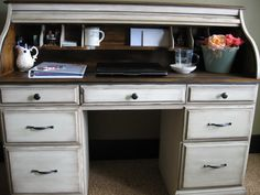 I have an antique lift-top desk I may finish to match refinished side table and antique iron headboard...
