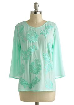 Meant to B Top - Mid-length, Mint, Print, Embroidery, Daytime Party, Casual, Beach/Resort, Pastel, 3/4 Sleeve, Sheer