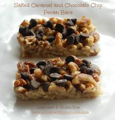 Salted Caramel and Chocolate Chip Pecan Bars- THM S, Low Carb, Gluten Free-We loved this! Cut Gentle Sweet to 1 heaping Tb and added a splash more of wh cream to the end of the caramel sauce to blend it better. Could have less choc chips even Low Carb Sweets, Low Carb Desserts, Healthier Desserts, Sin Gluten, Low Carb Recipes, Cooking Recipes, Cooking Ideas, Trim Healthy Recipes, Vegan Recipes