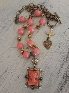 Cameo Jewelry, Antique Jewelry, Vintage Jewelry, Handmade Necklaces, Handmade Jewelry, Found Object Jewelry, Beautiful Necklaces, Necklace Lengths, Jewelry Crafts