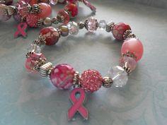 Breast Cancer Awareness Month Bracelets On by CremeDeLaCremeGifts, $35.00