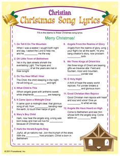 Fill-in-the blank of these Christian Christmas song lyrics to win! All songs are traditional Christian Christmas songs heard on the radio. Holiday Games, Christmas Party Games, Christmas Activities, Christmas Printables, Xmas Games, Christmas Trivia, Christmas Worksheets, Xmas Party, Family Activities