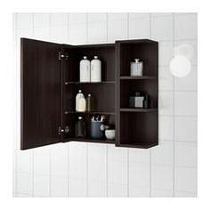 LILLÅNGEN Mirror cabinet 1 end unit, black-brown black-brown 23 Bathroom Shelf Unit, Bathroom Mirror With Shelf, Bathroom Mirror Cabinet, Mirror Cabinets, Bathroom Storage, Bathroom Interior, Modern Bathroom, Small Bathroom, Diy Storage Containers
