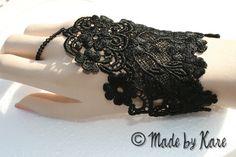 Black Lace Slave Bracelet Gothic Medieval by KaresKreations Isabelle would love these! Medieval Fashion, Steampunk Fashion, Vanity Clothing, Lace Bracelet, Bracelets, Princess Coloring Pages, Vintage Gothic, Black Gloves, Damask