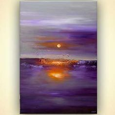 "Exceptional ""abstract art paintings diy"" information is available on our internet site. Take a look and you wont be sorry you did. Abstract Wall Art, Canvas Wall Art, Purple Art, Purple Sunset, Purple Painting, Art Paintings For Sale, Sunset Art, Hanging Art, Contemporary Art"