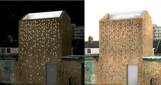 """Project by Studio Mama. """"Designed as a studio space on three levels, this scheme is developed on the footprint of a garage. The concept was to maintain a predominant use of brick which is in sympathy with the fabric of the street and surrounding area. Instead of  windows in the facade, a pattern was made by leaving out bricks.   Once inside one sees there is a vertical courtyard within the brick exterior, and the pattern on the facade becomes   visable as pinpoints of light. This effect…"""