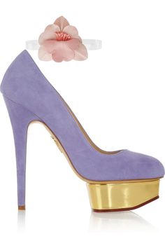 Charlotte Olympia | The Dolly LILAC suede platform flower pumps  | NET-A-PORTER.COM