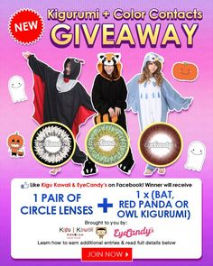 JOIN NOW: http://on.fb.me/1qqnqJx BOO-tiful Halloween Giveaway from Kigu Kawaii and Eye Candy's!  1. Kigu Kawaii and Eyecandys.com - Circle Lenses & Colored Contact Lenses Online Store on Facebook.  2. Like & share this photo and leave a comment below. Which kigurumi and pair of contact lense you want to have? - Bat, Red Panda or Owl Kigurumi - For contact lenses, choose from http://bit.ly/1w3hqdA  3. Answer Kigu Kawaii's Survey: http://bit.ly/1CfqZYC