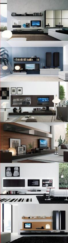 Tv Wall Units Design Ideas, Pictures, Remodel, and Decor - page 11 Living Room Interior, Home Living Room, Living Room Designs, Modern Interior, Interior Architecture, Modern Tv, Deco Tv, Bibliotheque Design, Muebles Living