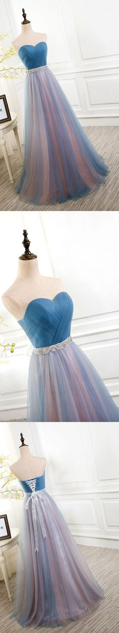 Gorgeous long prom dress, sweetheart tulle prom dress, #promdresses #SIMIBridal