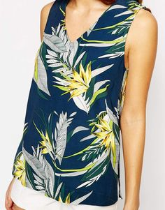 Image 3 of Warehouse Tropical Printed V Neck Top