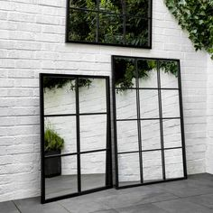 Mirror mirror on the wall, is our Window Pane Mirror collection fairest of all? With its distinctive window pane style making any space appear larger we like to think so - it must get extra points for being suitable for the garden too. Window Pane Mirror, Mirror Mirror, Garden Mirrors, Outdoor Mirrors Garden, Industrial Mirrors, Portrait Wall, Window Styles, Garden Landscape Design, Back Patio