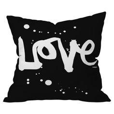 Kal Barteski Love Black Throw Pillow