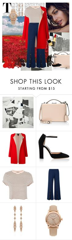 """""""Red+Nude"""" by amore520 ❤ liked on Polyvore featuring Mark Cross, IRIS VON ARNIM, Gianvito Rossi, Topshop, Mother of Pearl, Fernando Jorge, Burberry and Tom Ford"""