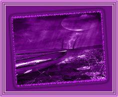 Cuadro paisaje violeta