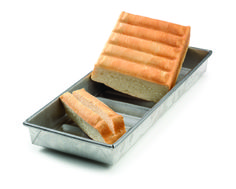 New England Hot Dog Bun Pan - Make split-top New England style hotdog buns, perfect for buttering and toasting on the grill.