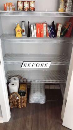 Kitchen Organization Pantry, Home Organization Hacks, Organization Ideas For Pantry, Organizing Home, Home Storage Ideas, Small Pantry Cabinet, Small Pantry Closet, Pantry Closet Organization, Wall Pantry