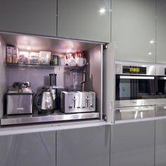 Hidden kitchen appliances- I think a hidden breakfast centre would be great (eg. kettle, toaster, juicer, blender, crepe or pancake machine, coffee mugs, tea, coffee, breakfast cereals, sugar)!