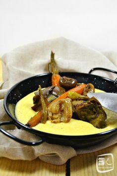 Recette polenta crémeuse aux légumes printaniers cuits en cocotte