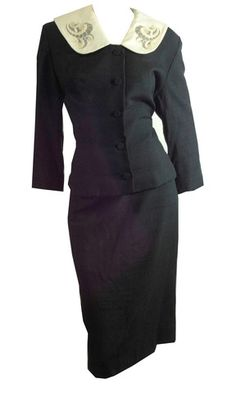 Super Chic Black Belted Suit w/ Lace Collar circa 1950s - Dorothea's Closet Vintage