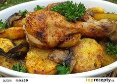 Kuřecí stehna pečená s brambory v sáčku recept - TopRecepty.cz Mozzarella, Poultry, Turkey, Treats, Chicken, Recipes, Food, Wallpaper, Sweet Like Candy