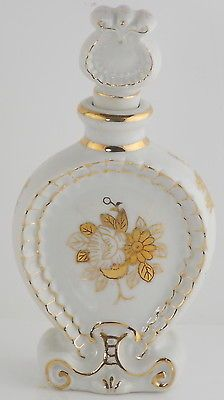 Porcelain Perfume Bottle White w/ Gold Vintage Hand Painting  Edging - Victorian
